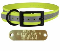 Cut To Fit Reflective Dog Collar with Name Plate