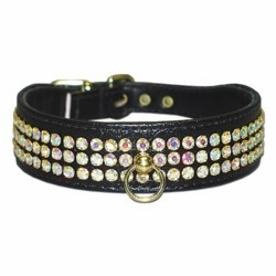 Dog Collar with 3 Rows of Rhinestones