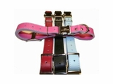 Engraved Buckle Leather ID Dog Collar