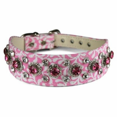 Fabric Dog Collar with Rhinestones