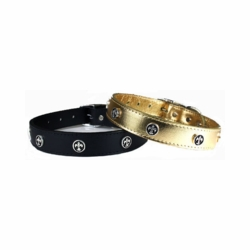 Louisiana Leather Dog Collars with  Fleur de Lis