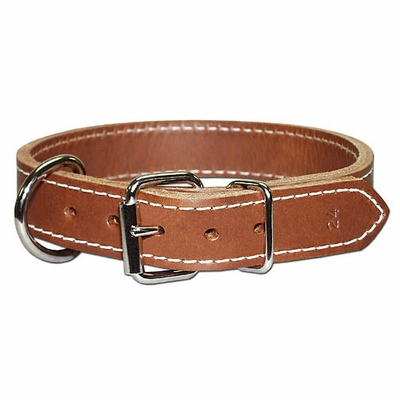 Front D Thick Leather Dog Collar 1-1/4