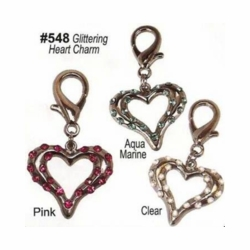 Glittering Heart Charms