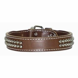Leather Collar with Dome Studs