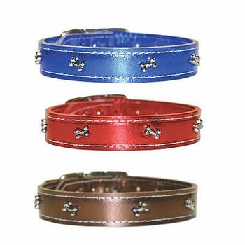 Leather Collars with Bones size 16, 18 and 20