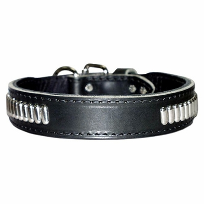 Leather Dog Collar with Oblong Studs