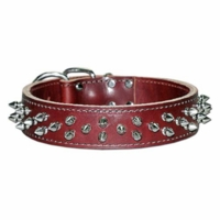 Leather Dog Collar with Spikes 1-1/2 inch wide