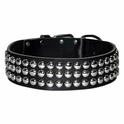 Wide Leather Collar with Studs