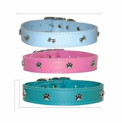 Leather Dog Collars with Bones, Paws or Hearts