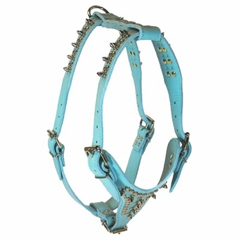 Leather Dog Harness with Spikes and Studs