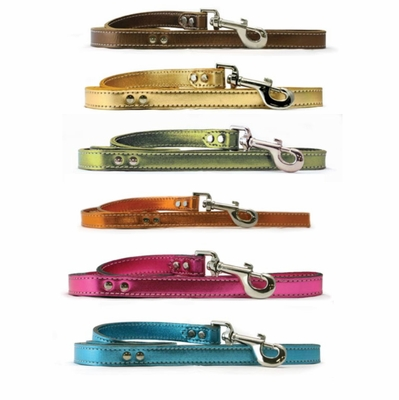 Leather Dog Leash Metallic Colors 3/4 x 4 Ft
