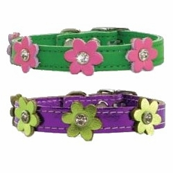 Leather Flower Power Dog Collars