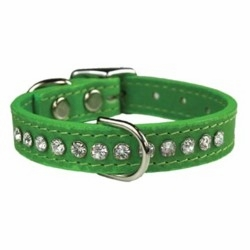 Leather Rhinestone Dog Collar 1/2 inch wide