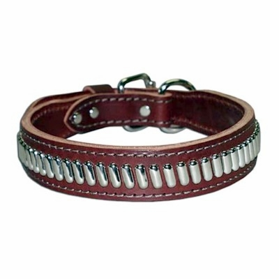 Oblong Studs Leather Dog Collar