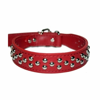Red Leather Dog Collar with Studs