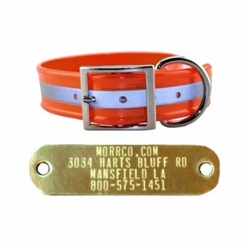 Reflective Dog Collar with Name Plate, Wide
