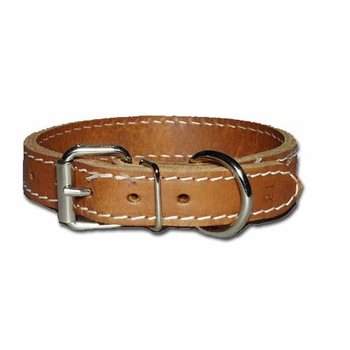 Regular Two Ply Leather Dog Collar 1 Inch Wide