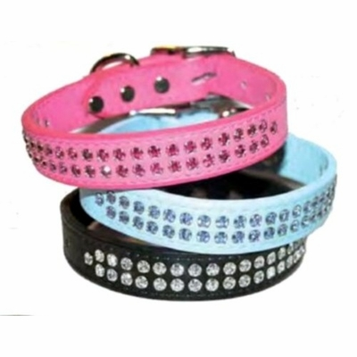 3/4 inch Rhinestone Leather Dog Collar