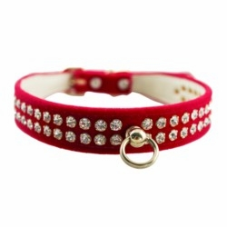 Rhinestone Velvet  Dog Collar