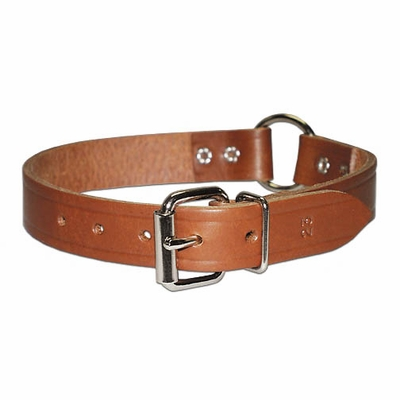Ring-in-Center Bully Leather Dog Collar 3/4 inch wide