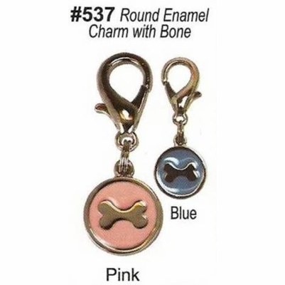 Round Enamel Charm with Bone
