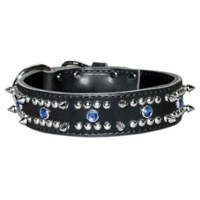 Spiked Leather Dog Collar with Blue Gems