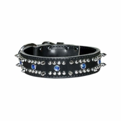 Leather and Spikes Collars with Blue Stones