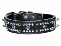 Spiked Leather Dog Collar with Blue Stones