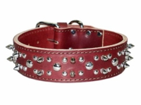 Spikes and Studs Leather Collar 1-3/4 inch wide