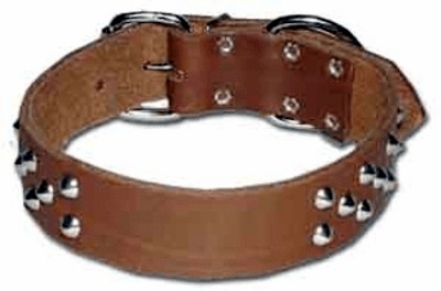 Wide Cone Stud Leather Collar