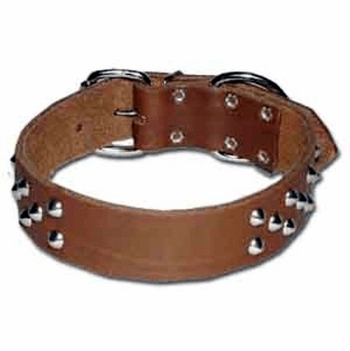Wide Cone Stud Leather Dog Collar