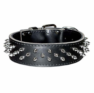 Wide Heavy Duty Leather Collar With Spikes