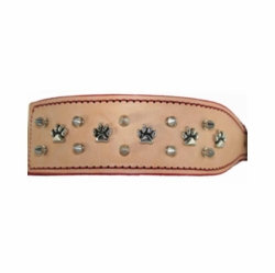 Wide Russet  Collar with Paws and Spikes