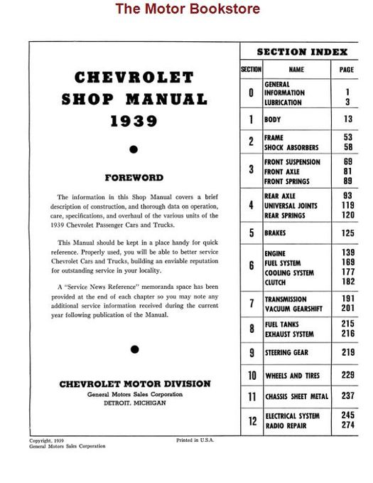 1939 Chevrolet Car & Truck Shop Manual