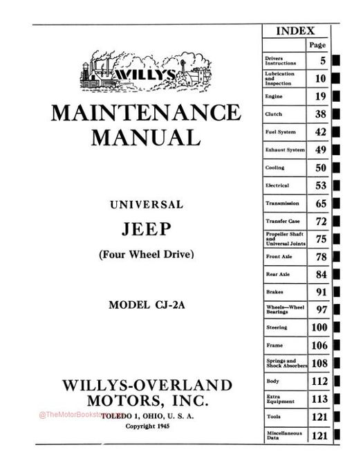 1945 - 1949 Jeep Willys CJ-2A Maintenance Manual