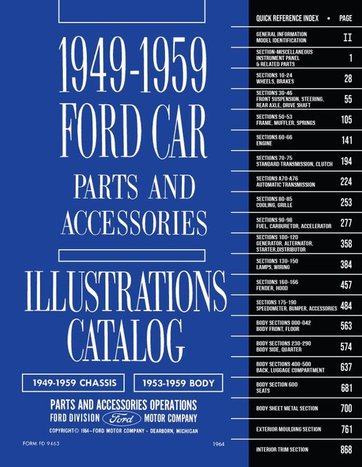 1949 - 1959 Ford Car Parts Books / Catalogs