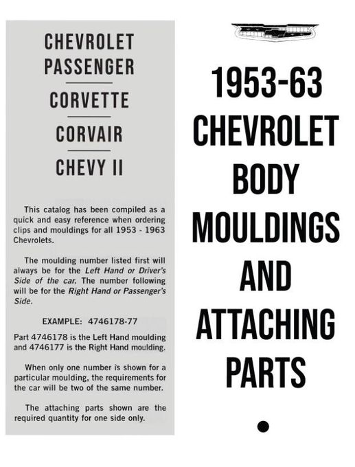 1953 1963 chevrolet body moldings and attaching parts