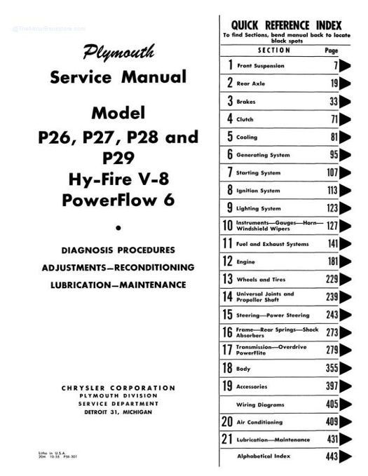 1955 - 1956 Plymouth Service Manual