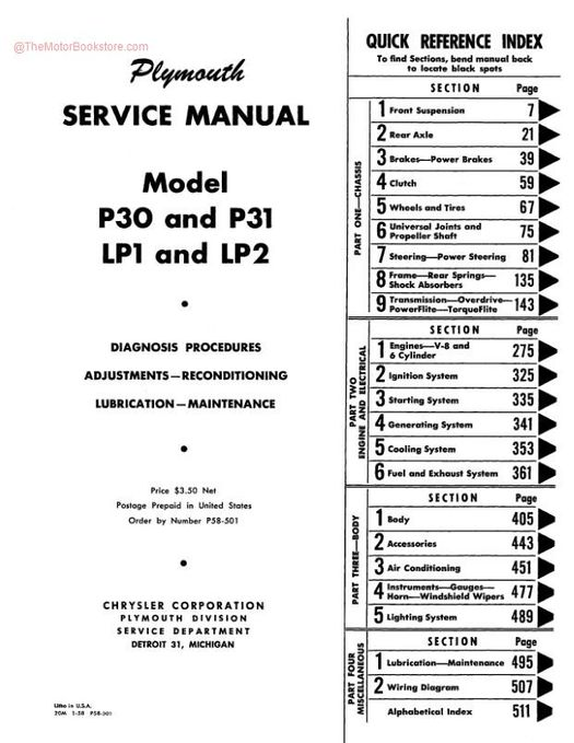 1957 - 1958 Plymouth Shop Manual