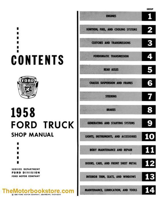 1958 Ford Truck Shop Manual