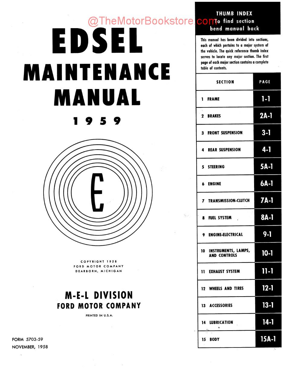 Edsel Shop Manual Remington 870 Parts Diagram 1959 Oem Service Repair Book Rh Themotorbookstore Com Design Farmtrac Manuals