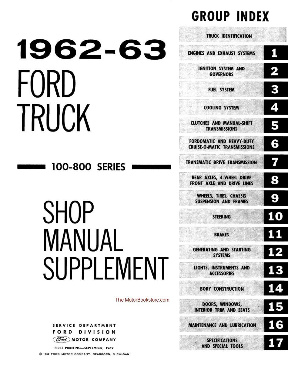 1961-1963 Ford Truck 100-800 Series Factory Shop Manual