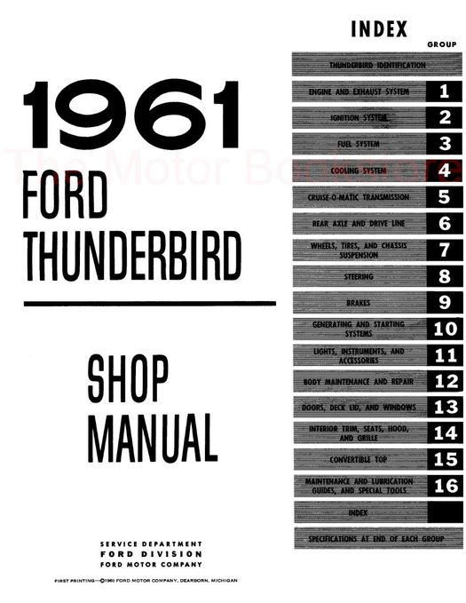 1961 Ford Thunderbird Shop Manual