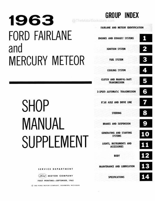 1962 - 1964 Ford Fairlane Shop Manual