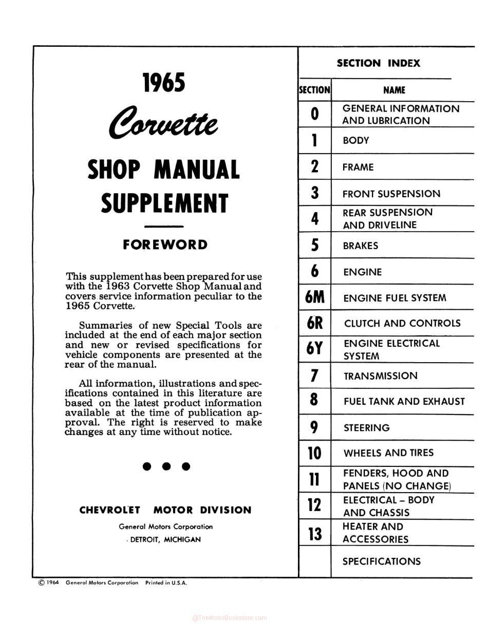 1965 Chevrolet Corvette Shop Manual Supplement