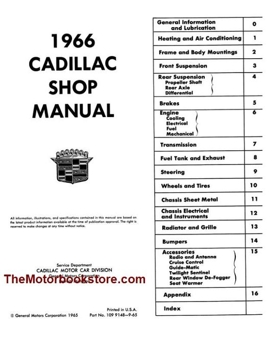 [DIAGRAM_3US]  1966 Cadillac OEM Factory Shop Manual - Licensed Reproduction | 1966 Cadillac Heater Wiring Diagram |  | The Motor Bookstore