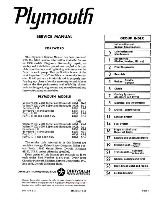 1966 Plymouth Factory Service Manual