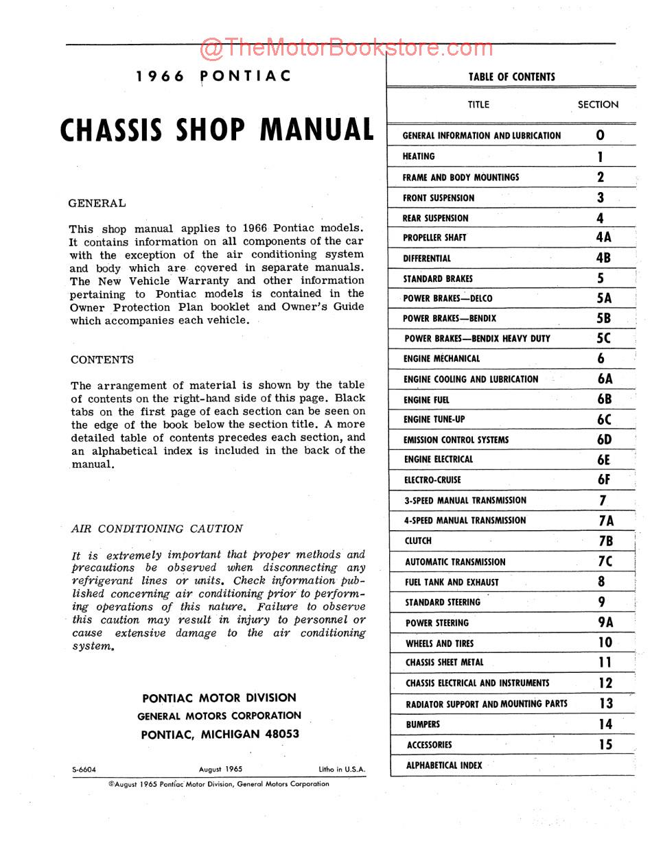 1966 Pontiac Shop Manual, Bonneville, Catalina, Grand Prix