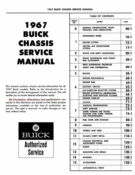 1967 Buick Chassis Service Manual - All Series