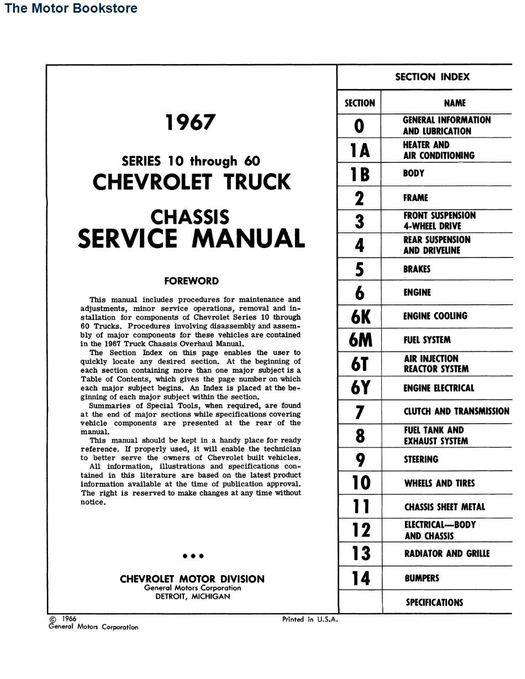 1967 Chevrolet Truck Chassis Service Manual